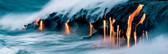 lava moving into the ocean