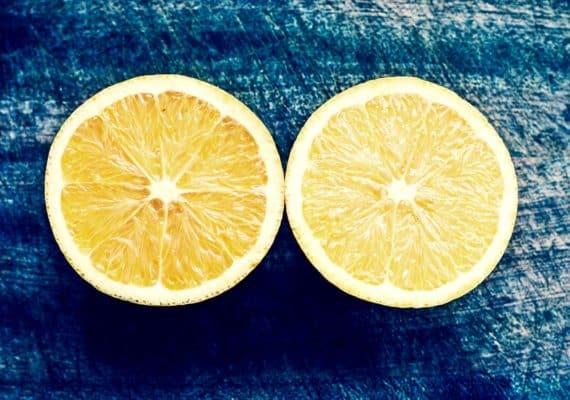 lemon cut perfectly in half