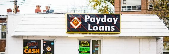 payday lender building with sign