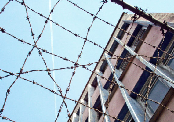 prison wire and building