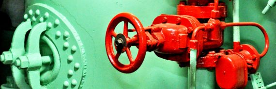 red valve on green