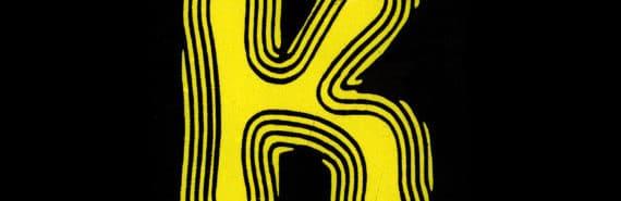 retro yellow K on black