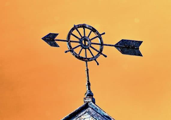 weathervane against copper sky