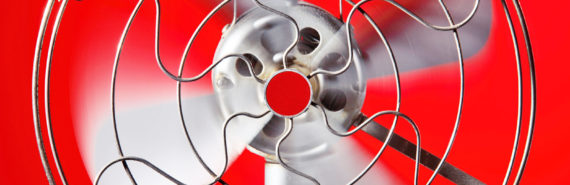 metal fan on red