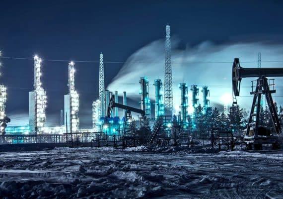 oil field at night