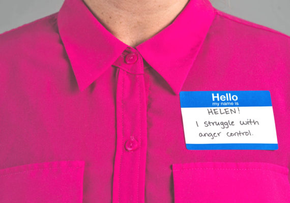 name tag says helen struggles with anger control