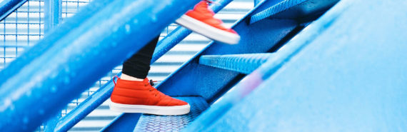 red shoes on blue stairs