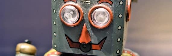 robot face close-up