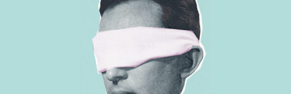 blindfold on man's head