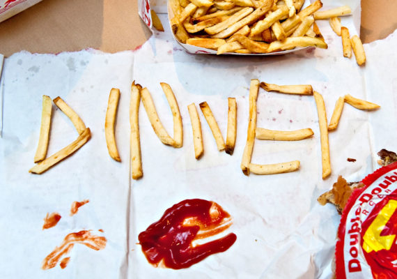 french fries spell out DINNER