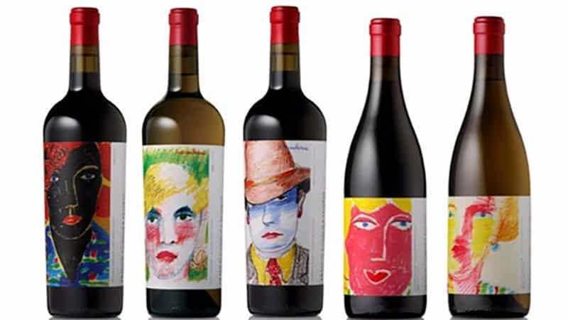 faces on wine bottle labels