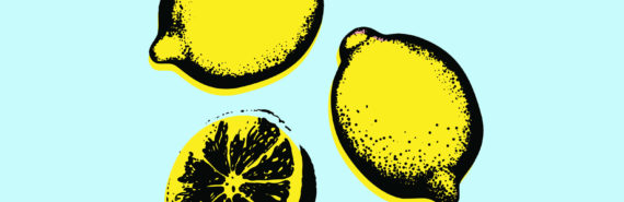 illustration of lemons on blue