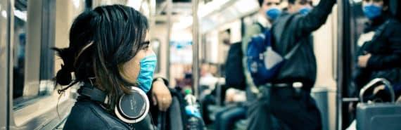 medical masks on subway