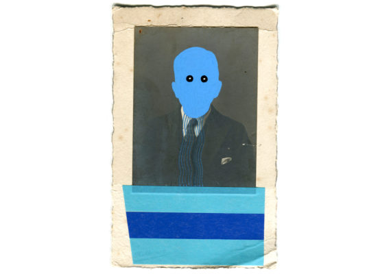 vintage photo with blue paint on face and tape