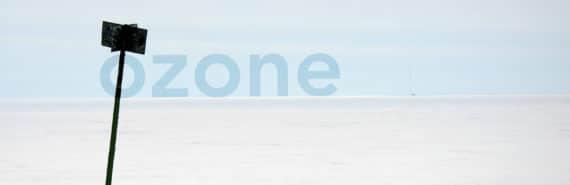 ozone on arctic horizon with black sign