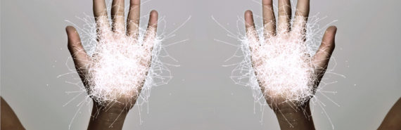 """opposite hands with white """"molecules"""""""
