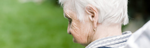 elderly woman looking away