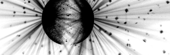 inverted bw image of disco ball