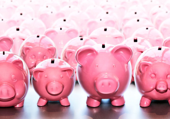 pink piggy banks in rows