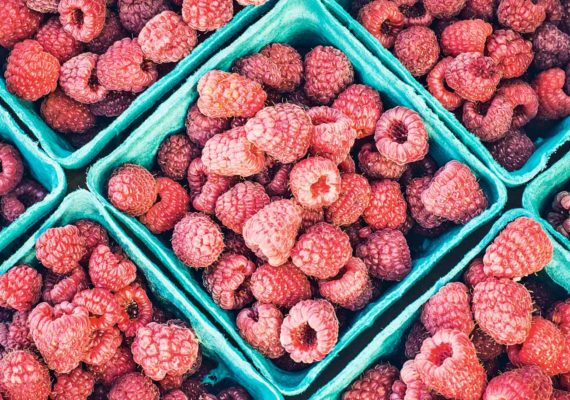raspberries in containers