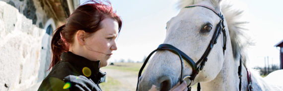 woman puts bridle on horse