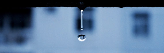droplet falls from roof - blue