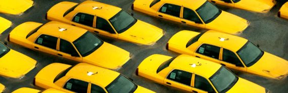 yellow cabs in flood water