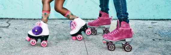 mother and daughter on rollerskates