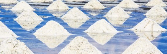 piles of salt in blue water