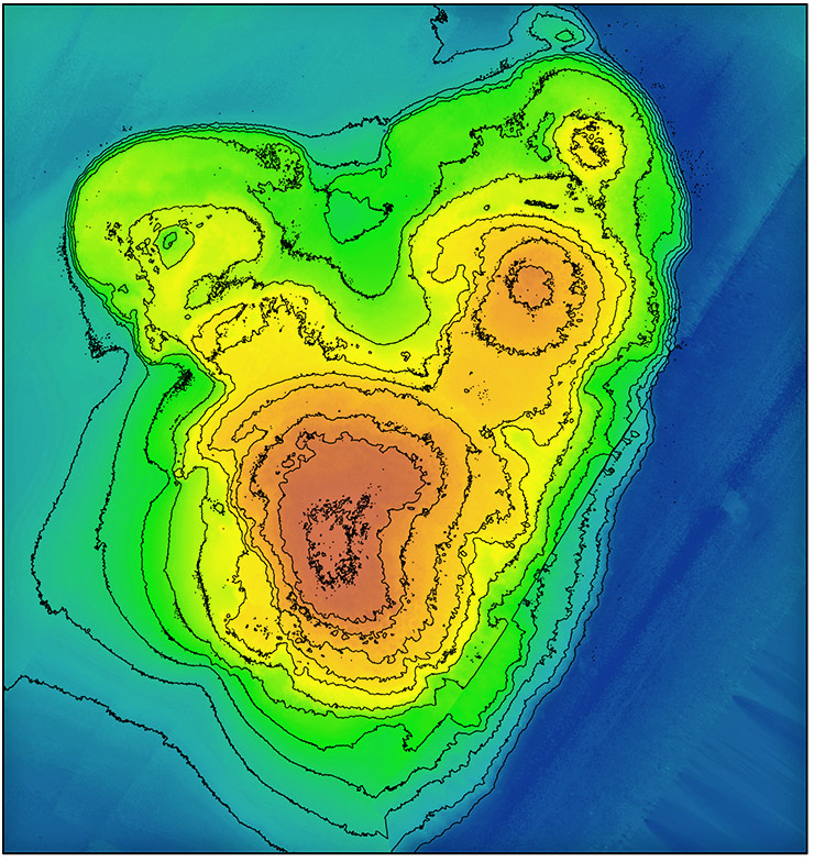 map of coral reef terraces