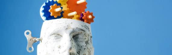 gears in mannequin brain Alzheimer's concept