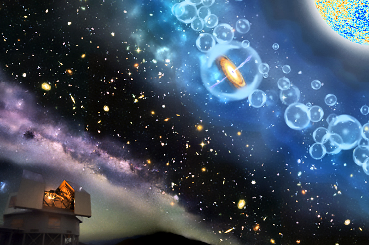 artist's impression of the quasar 690 million years after the Big Bang