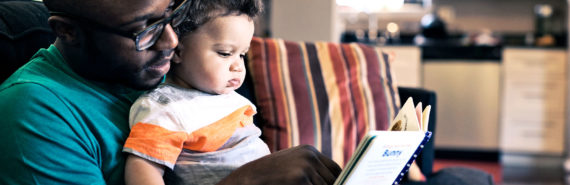 reading with baby (learning, infants, books concept)