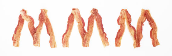 """""""mmm"""" in bacon letters"""