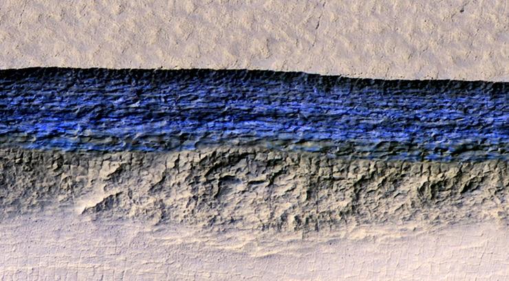 ice on Mars slope