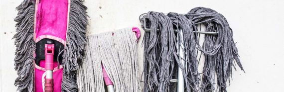 pink and gray mops
