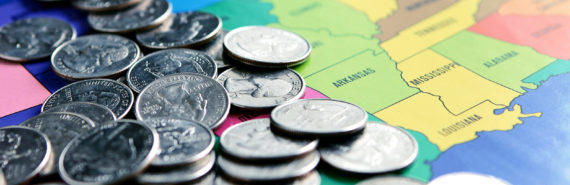 quarters on a US map (obesity, health care spending concept)