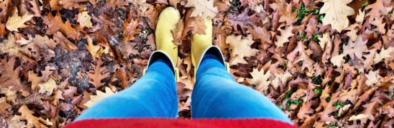 yellow boots in leaves