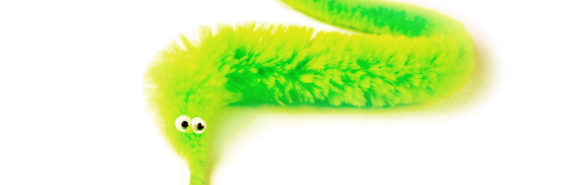 neon green toy worm