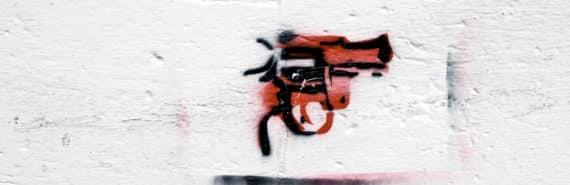 gun graffiti stencil (gun owners and safe gun storage concept)