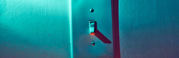 light switch in colorful light (