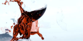 red wine glass exploding (wine and glass concept)