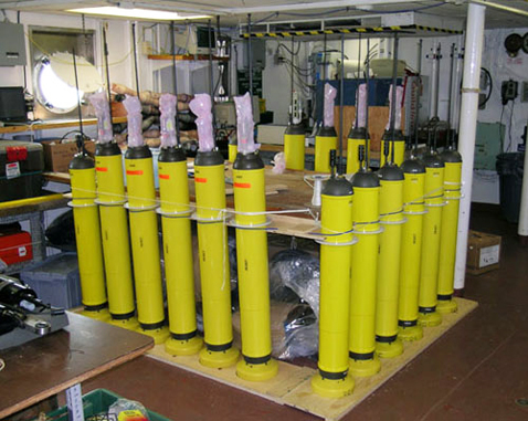 A Range and Fixing of Sound floats (RAFOS) is deployed into the Atlantic. It rode the currents at a depth of 700 or 1,500 meters and reported data to a network of undersea sensors. (Credit: WHOI)