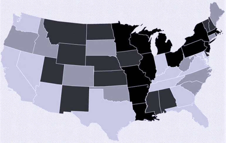A 1-percent increase in seniors who receive meals would cost more in states with large elderly populations (light gray), including Florida and California. Darker gray states could actually save on Medicaid costs. (Credit: Brown University)