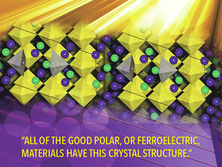 An illustration of the perovskite crystal fabricated in the experiment. (Credit: Felice Macera)