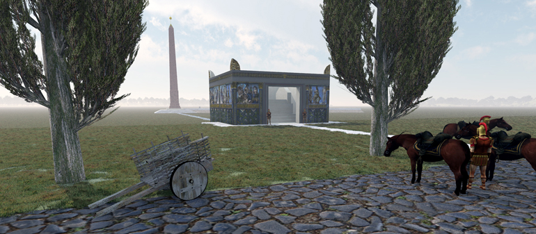 Virtual view of Augustus' Altar of Peace and the Obelisk of Montecitorio, background, as seen from the Via Flaminia, the ancient road from Rome to the Adriatic Sea. (Credit: Indiana U.)