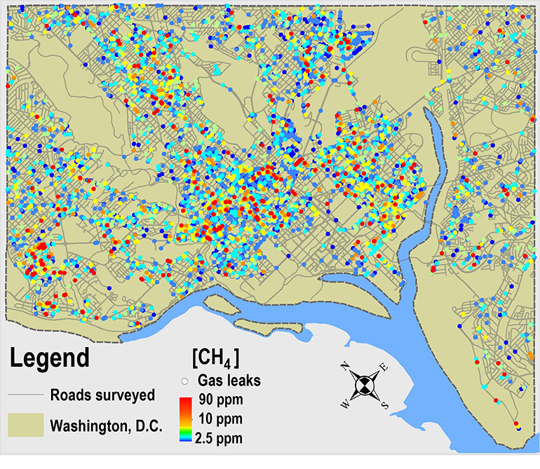 Dot map shows gas leaks found by the researcher's survey. (Credit: Duke)