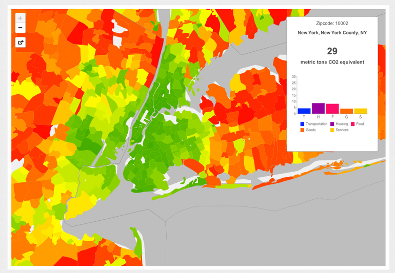A CoolClimate Map of New York City's carbon footprint by zipcode tabulation area shows a pattern typical of large metropolitan areas: a small footprint (green) in the urban core but a large footprint (orange and red) in surrounding suburbs. (Credit: UC Berkeley)
