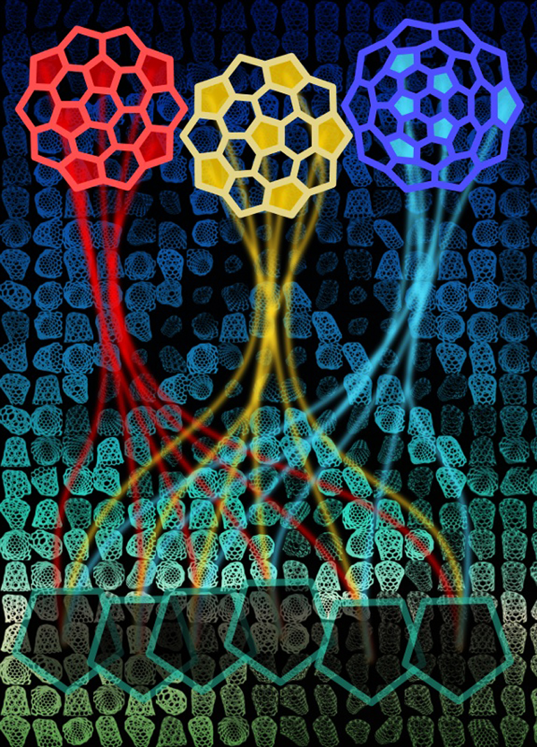Carbon nanotube caps are forced into shape by six pentagons among the array of hexagons in the single-atom-thick tube. Researchers took a census of thousands of possible caps and found the energies dedicated to their formation have no bearing on the tube's ultimate chirality. (Credit: Evgeni Penev/Rice)