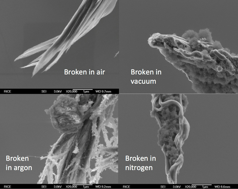 Scanning electron microscope images show typical carbon nanotube fibers created at Rice and broken into two by high-current-induced Joule heating. Researchers broke the fibers in different conditions – air, argon, nitrogen, and a vacuum – to see how well they handled high current. The fibers proved overall to be better at carrying electrical current than copper cables of the same mass. (Credit: Kono Lab/Rice)